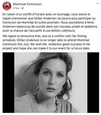 Gillian anderson ne participe plus au comiccon de montr al for Fenetre montreal